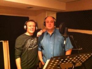 Lead cast members Andrew Chalmers (The Doctor) and Roy Miranda (Holmes) during recording
