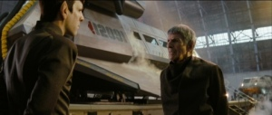 Spock (Zachary Quinto) and Spock Prime (Leonard Nimoy) in Star Trek - Into Darkness