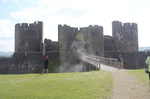 The entrance to Caerphilly Castle, with added smoke effect.   (Photo by Tony Chamberlain)