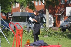 Jenna Colman reading her script (Photo - Tony Chamberlain)