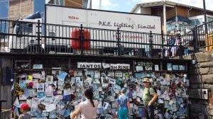 Lighting truck parked above another iconic Cardiff landmark, Ianto's shrine.