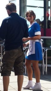 "Jenna in waitress outfit. ""Do you want fries with that?"""