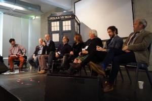 The Big Finish Panel. From second left, Jason Haigh-Ellery, Nick Briggs (with microphone), Nev Fountain, Nicola Bryant, Terry Molloy (in kilt), Paul McGann and Toby Hadoke. (Photo by Timelash)