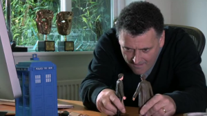 Steven Moffat storyboarding The Day of the Doctor. No, really....